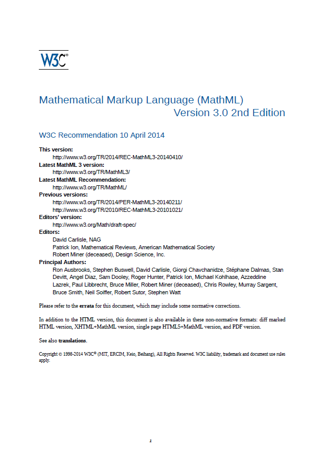 [CSS組版例] MathML 3.0 2nd Edition