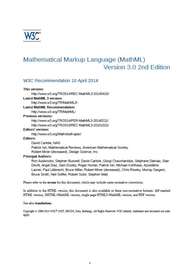 [CSS組版例] MathML 3.0 2nd Edition