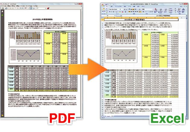 pdf エクセル 変換 just